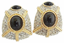 1980s Ciner Faux Onyx Cabochon Runway Couture Pavé Earrings
