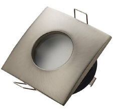 Square Frosted Bathroom Downlight Water Rated Spotlight GU10 IP44 Satin Nickel
