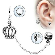1-  Surgical Stainless Steel Chained Crown & Skull  Cartilage Earring Stud A96