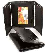 Men's Genuine Leather Trifold Wallet lizard embossed 6 Credit Card Slots Black