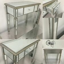 Venetian Mirrored Glass 1 Drawer console / Dressing Table With Silver Trim