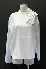 NWT.$1775 Brunello Cucinelli Womens Silk Chiffon Bell Sleeve Floral Detail Top M