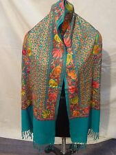 Crewel Embroidered Shawl. color Wool  Stole with Kashmir Embroidery. India 901