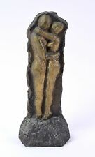 1980's Vintage Modern Bronze Sculpture Abstract Nude Couple Fink Chicago Artist