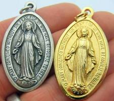"""MRT Lot Of 2 Different GIANT 2"""" Miraculous Mary Medal Silver & Gold Tone Gift"""
