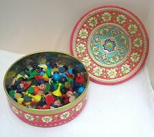 Vintage Tin of 100++  Old Game Pieces Wood Plastic Bingo and so Much More
