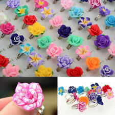 Wholesale 30pcs Jewelry Lots Mixed Adjustable Resin Flower Crystal Children Ring