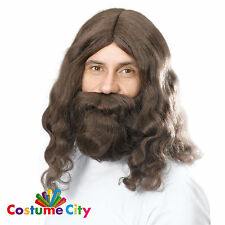 Adults Mens Hippie Beard & Wig Set Jesus Hippy Fancy Dress Costume Accessory