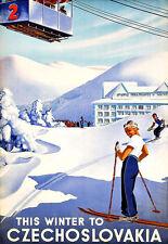 Czechoslovakia Czech Winter Sports Ski Travel Skiing  Poster Print