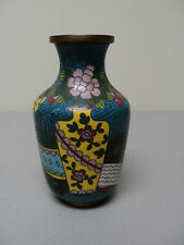 "UNUSUAL ANTIQUE CHINESE CLOISONNE ENAMEL ON BRONZE SMALL 5"" VASE, FLOWER POT"
