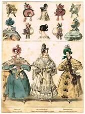 """""""Modes de Paris"""" - """"CHAPEAU DE PAILLE COUSUE"""" - Hand Colored Eng. - 1852"""