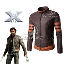 X-Men Origins: Wolverine Logans Costume Synthetic Leather Coat Jacket Size M-5XL