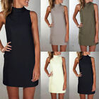 Womens Celeb Summer Sleeveless Evening Party Turtle Neck Beach Tunic Mini Dress