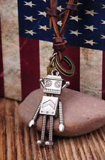 N243 Silver New Cute Robot Pendant Genuine Leather Long Necklace Adjustable