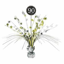 90th Birthday Spray Centrepiece Table Decoration Black Silver Gold Age 90 Party