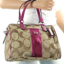 NWT Coach Signature Stripe Satchel Shoulder Cross Body Bag F24364 BERRY $328 New