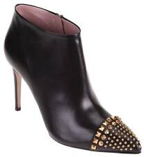 NEW GUCCI LADIES BLACK LEATHER STUDDED MALAGA ANKLE BOOTS SHOES 38/8