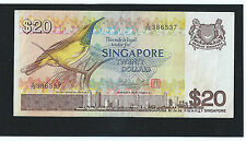SINGAPORE $20 BIRD SERIES PAPER MONEY BANKNOTE A/79-386537