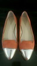 """Calvin klein shoes size 7m """"faith"""" orange with gold toes flats cute"""