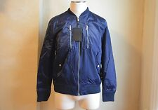 ZARA MAN DARK BLUE ZIPPERED WINDBREAKER BOMBER JACKET S XL 42 VERY COOL NYLON