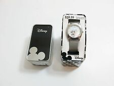 NEW DISNEY MICKEY MOUSE WATCH WITH TIN QUARTZ ACCUTIME SILVER TONED METAL BAND