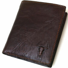 Mens Genuine Leather handmade Wallet Coin Pocket Bifold New Style with gift box
