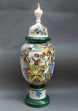 Large Victorian Opaline Glass Portrait VASE & Lid ~ Boy & Girl ~ Enamel ~ 55cm