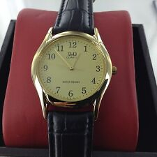 Ladies Dress Q&Q Nurse Watch by Citizen Easy Read Black Numbers Gold Dial Japan