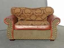 Designer Spanish Style Green & Brown Leather Floral Design LOVESEAT Accent Chair