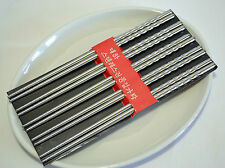 Korean Style Durable Stainless Steel Antiskid Chopstick Gift 5 Pair Deluxe Kit 8