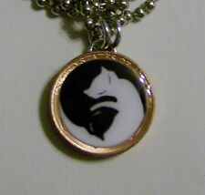 """Lucky Penny Pendant KITTY CAT YIN YANG Charm with  24"""" Chain Necklace"""