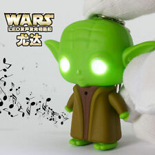 3D Cartoon Yoda Light Up LED Torch With sound Keyrings KeyChain USYS13