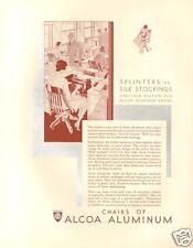 VTG 1930 ALCOA ALUMINUM Metal Office Chair SECRETARY Stockings Typewriter Art AD