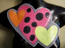 "10"" SEQUIN ***FUNKY - COLORFUL - HEART*** Applique On Net"