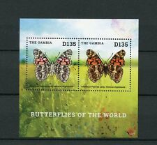 Gambia 2014 MNH Butterflies of World I 2v S/S Insects Butterfly Painted Lady