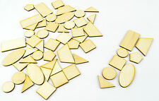 54 x Wooden Crafts/ Geometrical Shapes/ Laser Cut/ Beads/ Unfinished/ Supplies