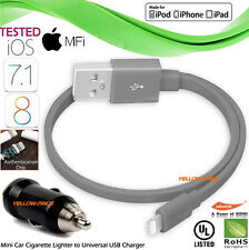 Short Flat Certified Lightning 8pin USB Charger Cable iPhone 5S 6 Plus iPad iPod