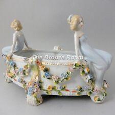 2 Ladies with Meissen Art Nouveau Porcelain Centrepiece / Bowl / Basket *REDUCED