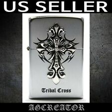 New Japan Korea zippo lighter tribal cross silver plated emblem