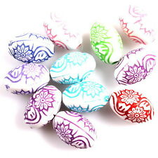 50x 113350 Fashion Colorful Carved Flower Oval Acrylic Spacer Beads  Accessories