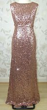 £199 BNWT Jenny Packham CARRIE All Over Mid Rose Sequin Long Evening Dress Sz 14