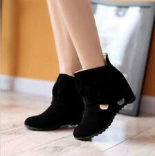 Sexy Sweet Women's Hidden Wedge Ankle Boots Buckle Mid Heels Bowknot Shoes Uk SZ