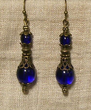BRASS BRONZE FILIGREE COBALT BLUE GLASS DROP EARRINGS EDWARDIAN STYLE VICTORIAN