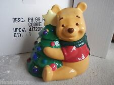 Disney's Winnie The Pooh Christmas Tree Holiday Ceramic Cookie Jar MIB