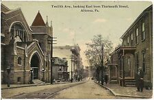 12th Avenue Looking East from 13th Street in Altoona PA Postcard 1913