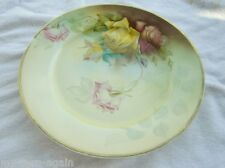 Thomas Sevres Bavaria 1905 Hand Painted Signed Charger Plate Pink Yellow Roses