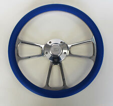 "Bronco F100 F150 F250 F350 Steering Wheel 14"" Blue and Billet Ford Center Cap"