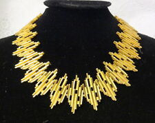 Vintage Signed Crown Trifari Modernist Brutalist Gold Tone Necklace