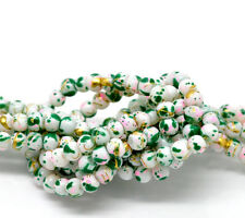 200 x 4mm White Green Pink & Gold Mottled Round Glass Marble Effect Beads P160
