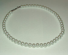 WHITE GLASS PEARL NECKLACE SILVER PLATED CLASP WEDDING 16 INCHES PRL